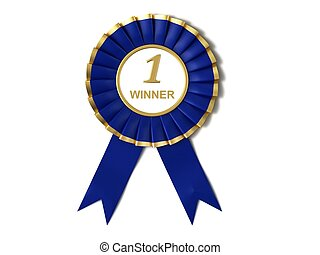 Blue ribbon award with gold border on a white background.