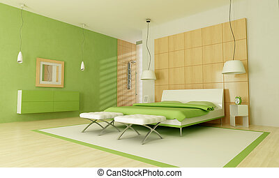 Green modern bedroom with shower -rendering