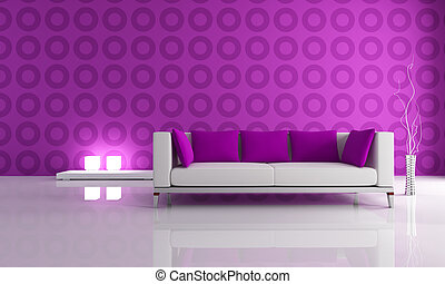 purple modern lounge - white and puple couch in front a...