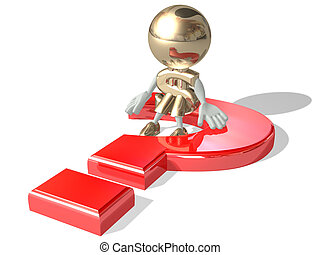 Mr dollar and the big, red question, isolated 3D personage on a white background