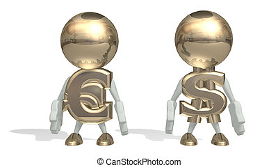 mr dollar and euro, isolated 3D character on a white background
