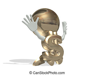 Mr dollar prays, isolated personage on a white background