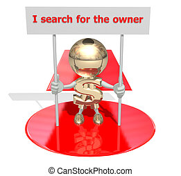 Mr Dollar searches for the owner, isolated 3D personage on a white background