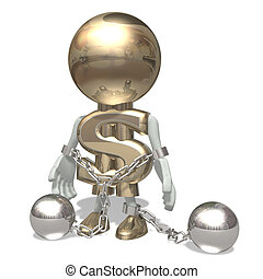 Mr dollar in shackles, isolated on a white background