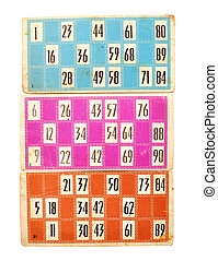 old lotto cards - Old lotto cards and numbers on white