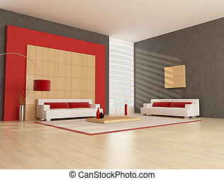 minimalist lounge - two white and red couch in minimalist...