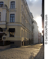 Streets of ancient city, Facades in capital of Estonia...