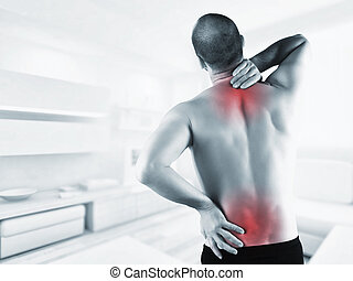 ack painb - man at home with back pain in red zone