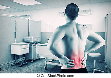 man with back problem - caucasian man with back pain with...