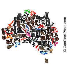 Australia continent made of woman shoes