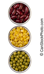 canned beans, peas and maize in metal cans, isolated on...