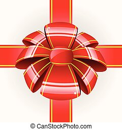 Big red bow with ribbon