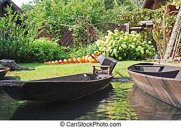 spreewald - pumpkins in a garden in spreewald, germany