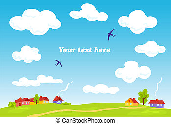 Rural landscape Vector summer background Illustration for...