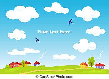 Rural landscape. Vector summer background. Illustration for...