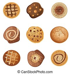 Cookies - illustration of different types of cookies on...