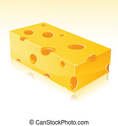 Cheese - illustration of piece of cheese on white background