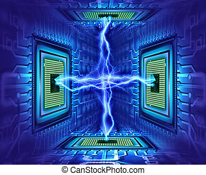 processor electricity - abstract concept
