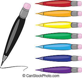 Colorfull pens Vector illustrtion on white For design