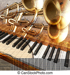 abstract musical background guitar trumpet and piano -...