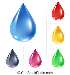 Set of water drops. Vector illustration on white
