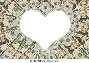 Money Heart - Twenty dollar bills making a heart symbol on a...