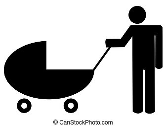 father pushing baby buggy or stroller