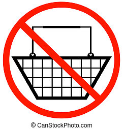 shopping basket with not allowed symbol