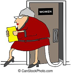 Woman With Toilet Paper Out Of Her - This illustration...