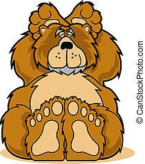 Cute cartoon bear relaxing clip art