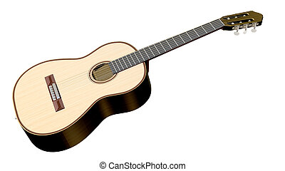 Isolated acoustic guitar on a white background