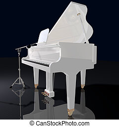 gand piano and microphone on a black background - gand piano...