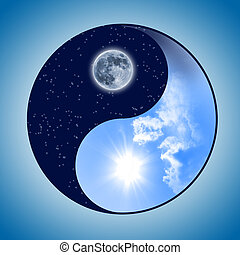 Symbol of yin and yang of the background The sign of the two...