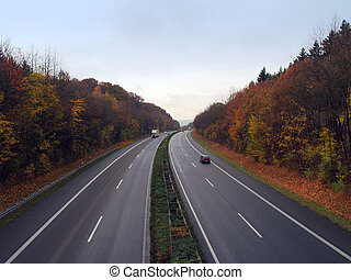German autobahn in the autumn evening