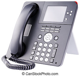 IP telephone on white - Office IP telephone set with LCD...
