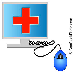 monitor with online heath care concept