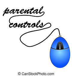 mouse spelling out word parental controls - mouse with cord...