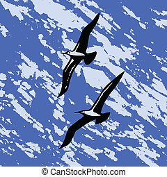 vector silhouette swallow on abstract background