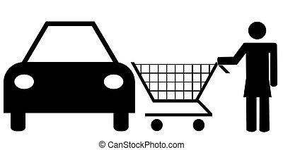 woman pushing shopping cart going to her car