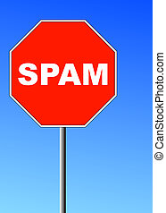 red stop sign with spam