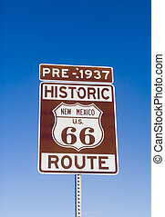 Historic Pre 1937 New Mexico Route 66 Sign - Sign showing...