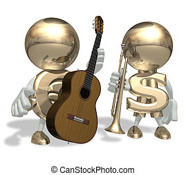 EURO and mr Dollar isolated personage on a white background