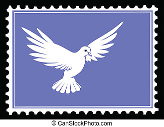 vector drawing dove on postage stamps