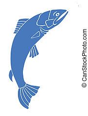 salmão, branca, vetorial, silueta, fundo