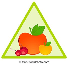 healthy fruit on green background