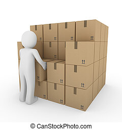 3d human carton package shipping - 3d, human, shipping,...