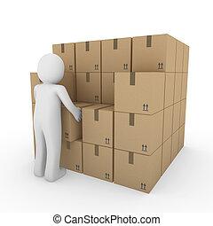 3d human carton package shipping