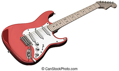 Isolated electric guitar on a white background