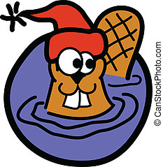 Beaver wearing winter stocking cap and swimming in his dam.