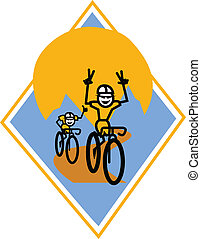 Bikers racing clip art - Mountain bikers or bicyclists...